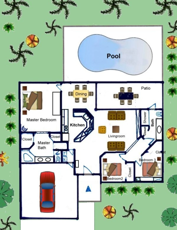Grundriss villa mit pool  Grundriss - Villa IBIS, Cape Coral, Luxus Ferienhaus mit Pool am ...